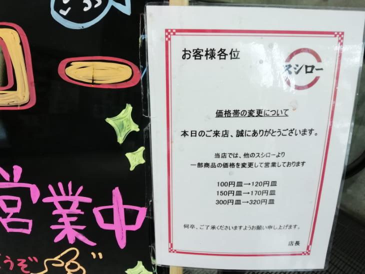 スシロー荻窪店は20円ずつ高い